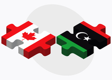 dinar: Canada and Libya Flags in puzzle isolated on white background