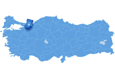 pulled out: Map of Turkey where Sakarya province is pulled out, isolated on white background Illustration