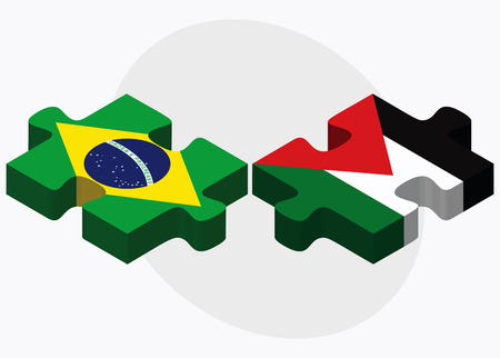 palestine: Brazil and Palestine Flags in puzzle isolated on white background