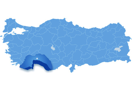 withdraw: Map of Turkey where Antalya province is pulled out, isolated on white background Illustration