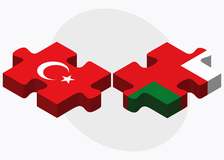 oman background: Turkey and Oman Flags in puzzle isolated on white background