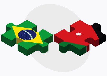 federative republic of brazil: Brazil and Jordan Flags in puzzle isolated on white background