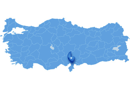 subdivisions: Map of Turkey where Osmaniye province is pulled out, isolated on white background
