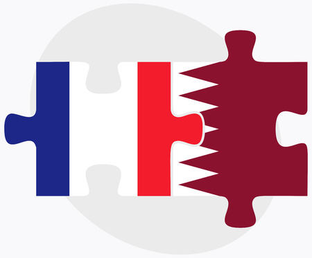 doha: France and Qatar Flags in puzzle isolated on white background