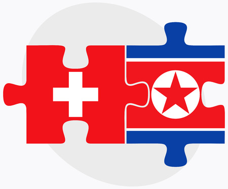 Switzerland And KoreaNorth Flags In Puzzle Isolated On White - north flags
