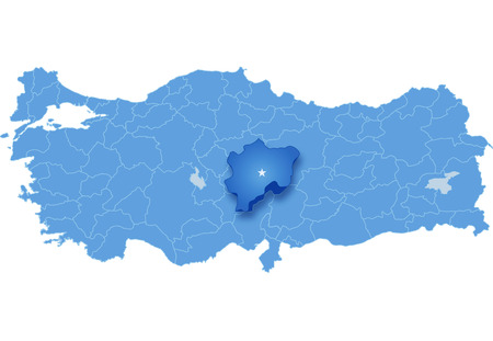 pulled out: Map of Turkey where Kayseri province is pulled out, isolated on white background