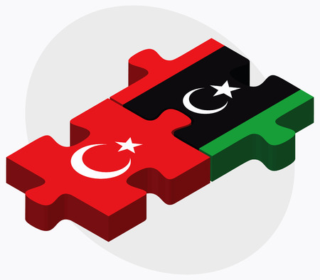 dinar: Turkey and Libya Flags in puzzle isolated on white background Illustration