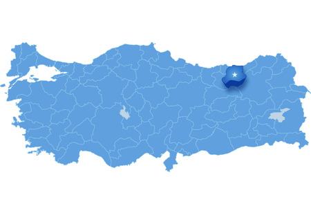Map of Turkey where Bayburt province is pulled out, isolated on white background Illustration