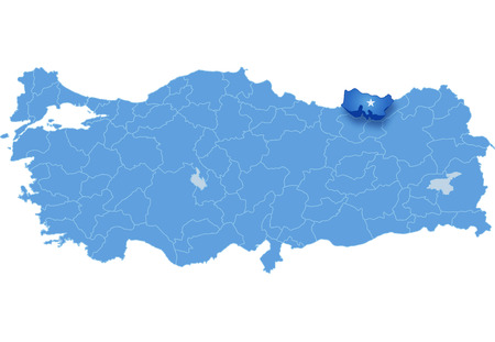 pluck: Map of Turkey where Trabzon province is pulled out, isolated on white background Illustration