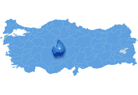 subdivision: Map of Turkey where Aksaray province is pulled out, isolated on white background
