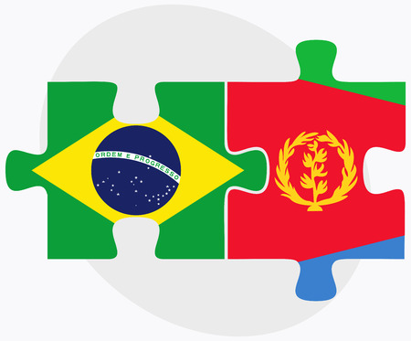 federative republic of brazil: Brazil and Eritrea Flags in puzzle isolated on white background