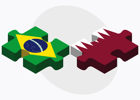 doha: Brazil and Qatar Flags in puzzle isolated on white background