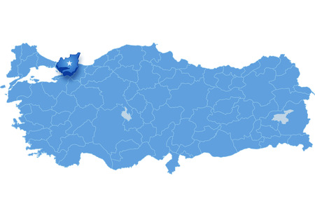 land mark: Map of Turkey where Kocaeli province is pulled out, isolated on white background