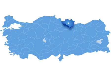 subdivisions: Map of Turkey where Ordu province is pulled out, isolated on white background