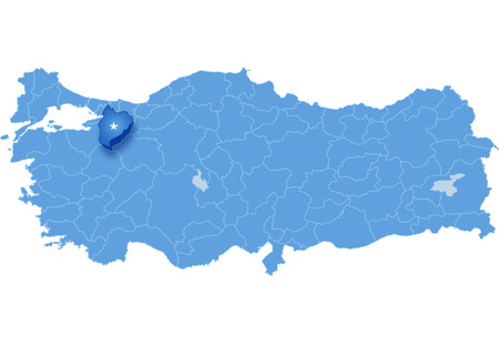 land mark: Map of Turkey where Bilecik province is pulled out, isolated on white background