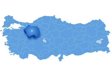 pulled out: Map of Turkey where Eskisehir province is pulled out, isolated on white background Illustration