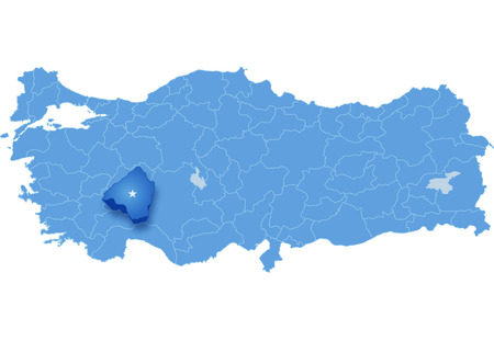 subdivision: Map of Turkey where Isparta province is pulled out, isolated on white background