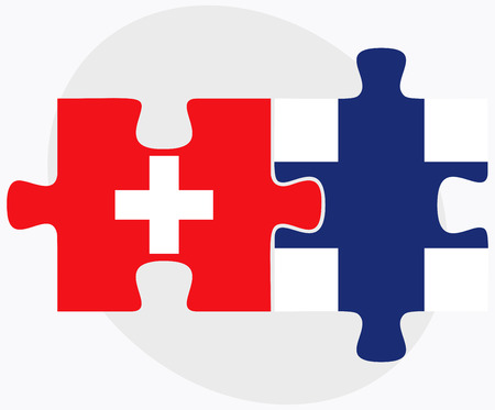 Switzerland and Finland Flags in puzzle isolated on white background