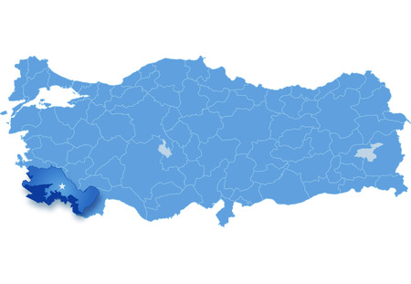mugla: Map of Turkey where Mugla province is pulled out, isolated on white background