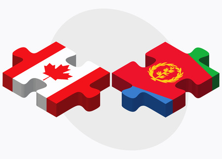 canadian state flag: Canada and Eritrea Flags in puzzle isolated on white background Illustration