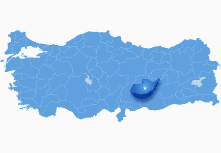 pulled: Map of Turkey where Adiyaman province is pulled out, isolated on white background