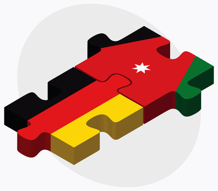 jordanian: Germany and Jordan Flags in puzzle isolated on white background Stock Illustratie