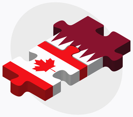 doha: Canada and Qatar Flags in puzzle isolated on white background Illustration