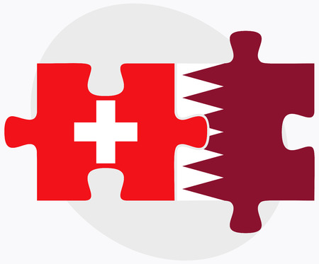 doha: Switzerland and Qatar Flags in puzzle isolated on white background Illustration