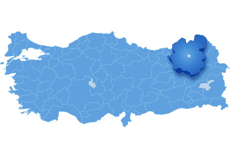 pulled out: Map of Turkey where Erzurum province is pulled out, isolated on white background