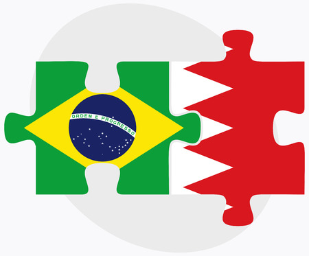 federative republic of brazil: Brazil and Bahrain Flags in puzzle  isolated on white background Illustration