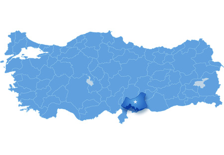 take out: Map of Turkey where Gaziantep province is pulled out, isolated on white background