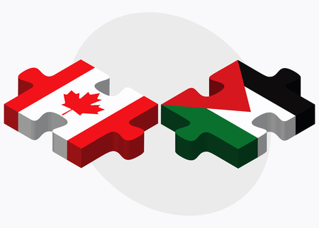 Canada and Palestine Flags in puzzle isolated on white background