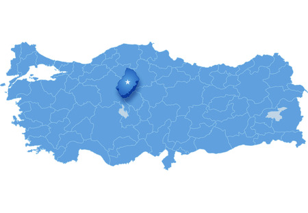 subdivision: Map of Turkey where Kirikkale province is pulled out, isolated on white background Illustration