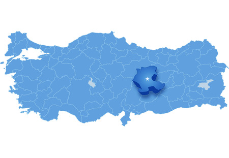 subdivision: Map of Turkey where Malatya province is pulled out, isolated on white background Illustration
