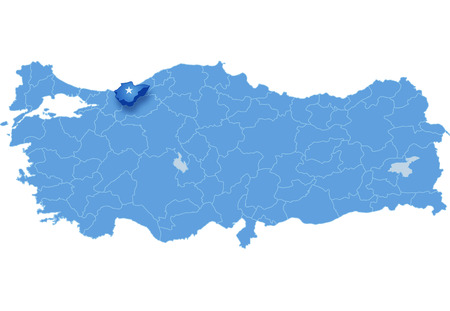 Map of Turkey where Duzce province is pulled out, isolated on white background