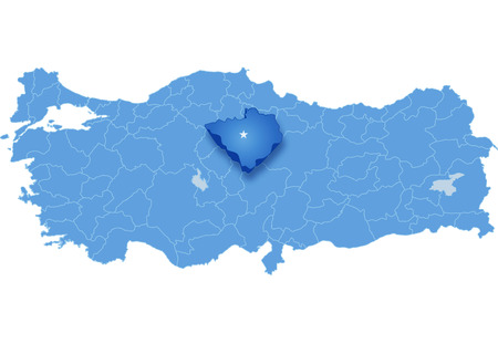 subdivision: Map of Turkey where Yozgat province is pulled out, isolated on white background