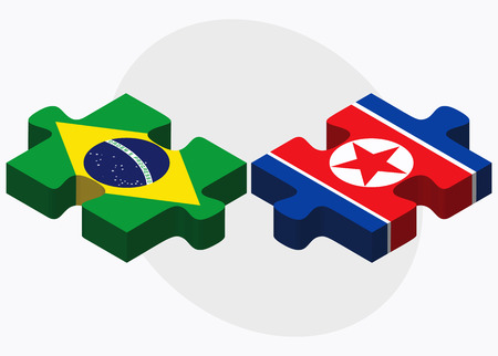 pyongyang: Brazil and Korea-North Flags in puzzle isolated on white background Illustration