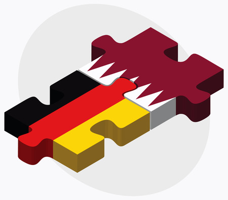 doha: Germany and Qatar Flags in puzzle isolated on white background