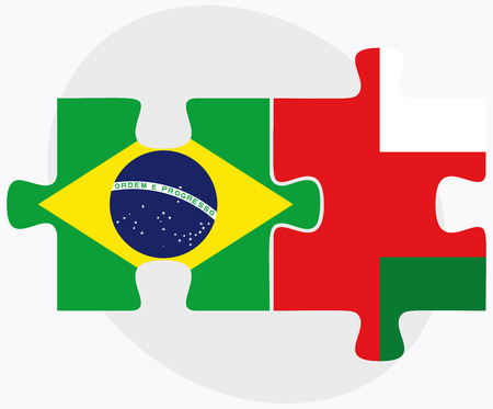 oman background: Brazil and Oman Flags in puzzle isolated on white background