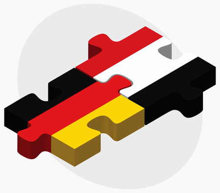 east berlin: Germany and Yemen Flags in puzzle isolated on white background Illustration