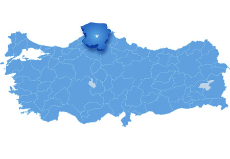 Map of Turkey where Kastamonu province is pulled out, isolated on white background Illustration