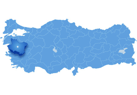 subdivision: Map of Turkey where Manisa province is pulled out, isolated on white background