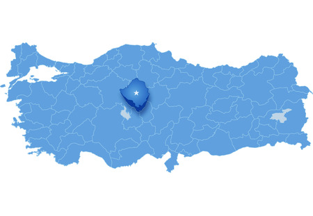 land mark: Map of Turkey where Kirsehir province is pulled out, isolated on white background Illustration