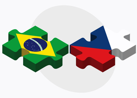 federative republic of brazil: Brazil and Czech Republic Flags in puzzle isolated on white background Illustration