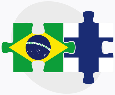 Brazil and Finland Flags in puzzle isolated on white background