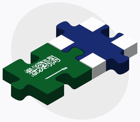 Saudi Arabia and Finland Flags in puzzle isolated on white background