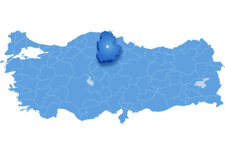 Map of Turkey where Corum province is pulled out, isolated on white background