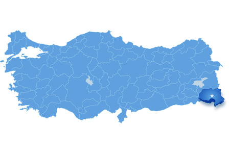 take out: Map of Turkey where Hakkari province is pulled out, isolated on white background Illustration