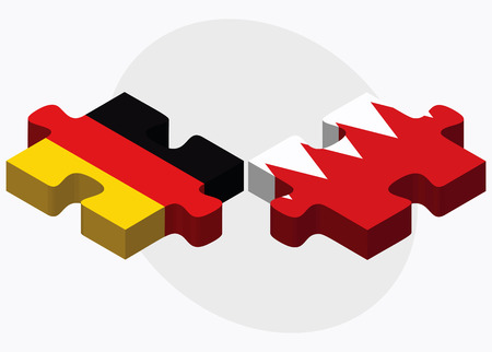 bahrain: Germany and Bahrain Flags in puzzle  isolated on white background