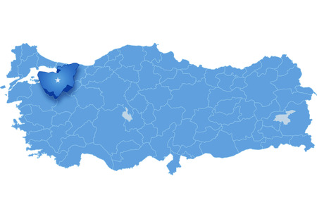haul: Map of Turkey where Bursa province is pulled out, isolated on white background